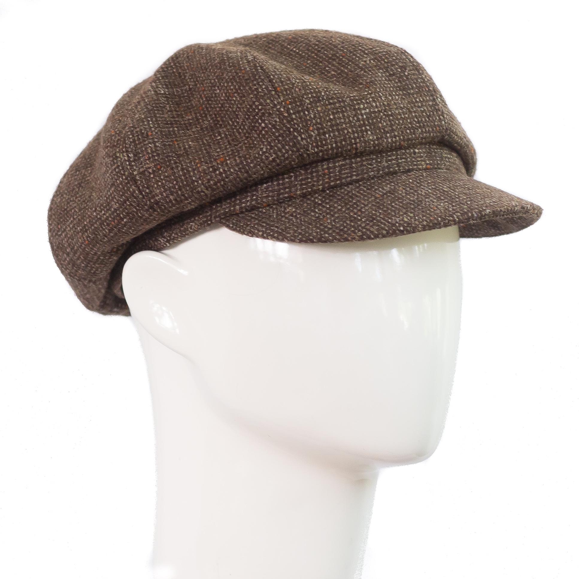Katupoika-lakki-ruskea donegal tweed newsboy helsinki hat factory